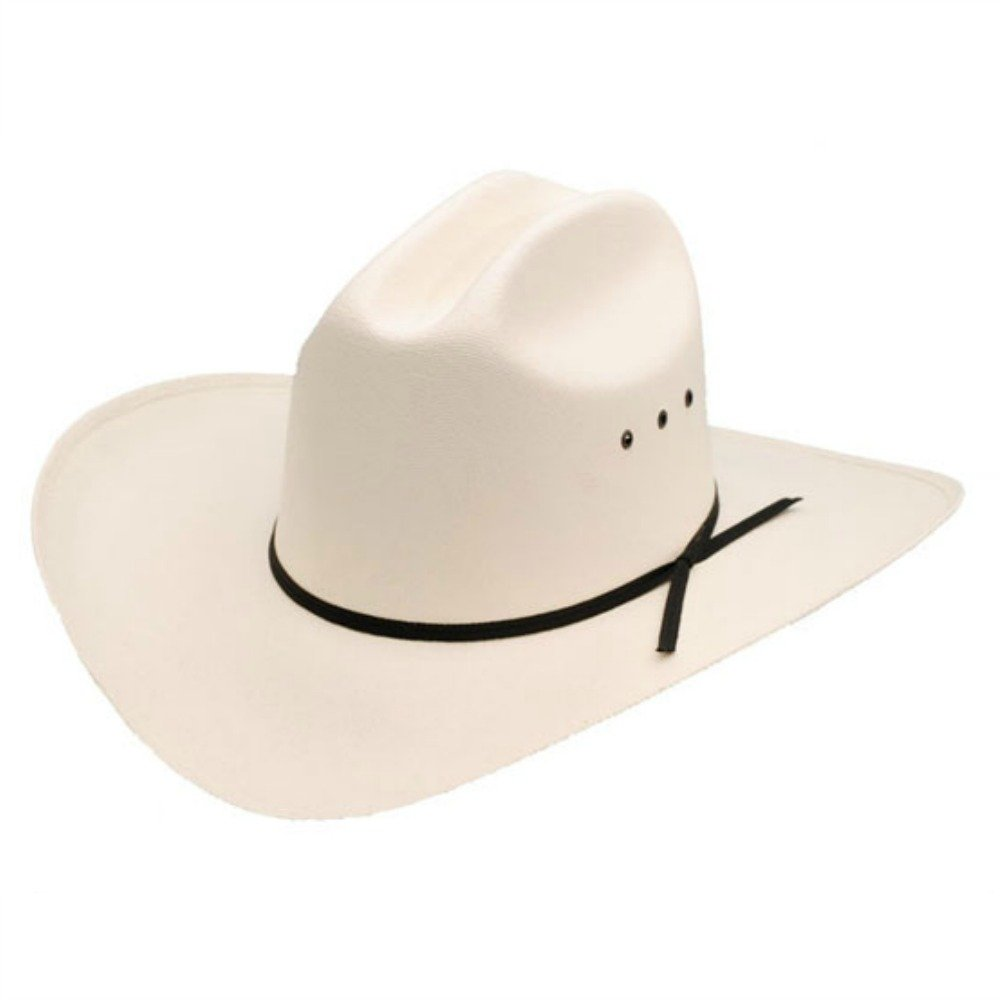 c4014b1e Cotswold Country Hats White Cowboy Hat With Black Ribbon Trim - Cattleman  Style. Stiff Build. Straw. Made In Mexico. Dallas Style Cowboy Hat
