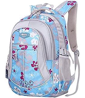 de24eb09eeb4 JiaYou Girl Flower Printed Primary Junior High University School Bag  Bookbag Backpack(Style A Blue