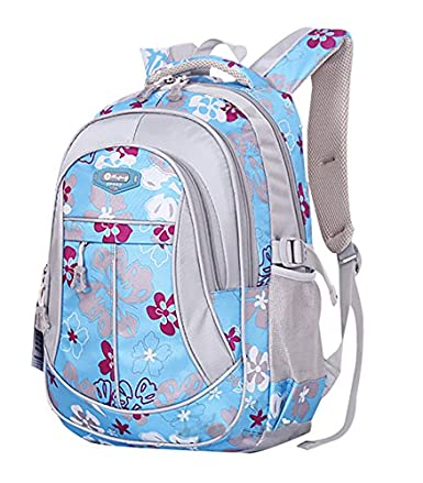 JiaYou Kid Child Girl Flower Printed Backpack School Bag(Blue,Large)