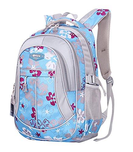 Jiayou Kid Child Girl Flower Printed Backpack School Bag Blue Large