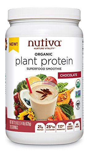Nutiva Plant Protein Superfood for Shakes and Smoothies, Chocolate, 1.4-pound