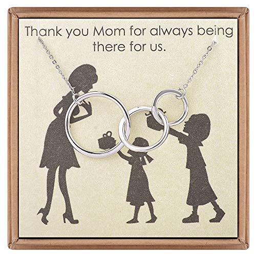 Mother Daughter Jewelry Gifts for Women - Mother Daughter Necklace Three Circles Pendant Infinity Necklace Love Inspirational Quotes with Message Card Necklace Mother's Day Jewelry Gifts From Daughter ()