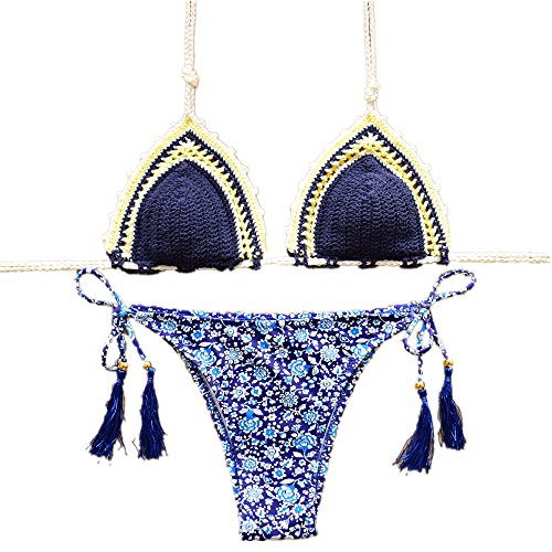 YC FASHION Women's Colorful Handmade Crochet Halter Bikini Set Swimsuit Sexy Swimwear (Large, Dark blue)