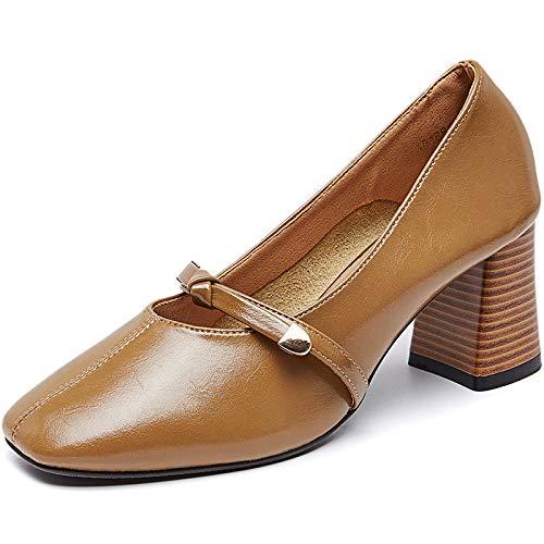 Small Autumn Shallow High Female Gentle tacón Mouth alto Thick Heels de Fresh Shoes with Shoes Khaki Fairy Wild Single Yukun zapatos Zxn8II