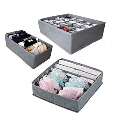 3 Pcs, 24-Cell, 7-Cell, 6-Cell Underwear Socks Ties Bra Drawer Organizer Storage Box,Bamboo Charcoal Abosrbs Moisture and Smell
