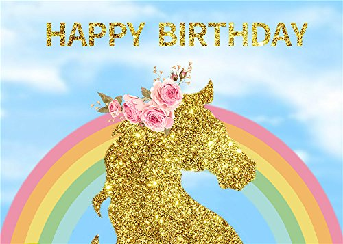 Fanghui Backdrops Photography Photo Studio Background Photographic Happy Birthday Material Vinyl 7x5ft unicorn by Fanghui