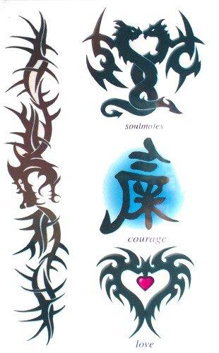 Amazoncom Soulmates Karma Dragons Temporary Tattoos Beauty