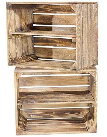 Holzkisten Weinkisten / Regal Aus Obstkisten Mit Zwischenboden (3er Set    Geflammte Regalkiste 50x40x30cm