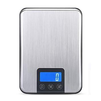 ZHANGYUGE Báscula de Cocina de Acero Inoxidable 33lb 15Kg/1G Pantalla LCD Portátil Balanzas Digitales
