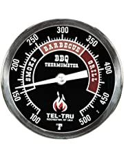 Tel-Tru 351K04FBAKLA4AA BQ300 100-500F Barbecue Thermometer - Black Dial with 4 Inch Stem