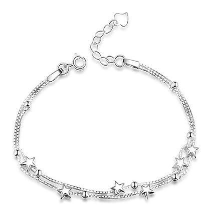 9b66619db7fb HOMEYU® Elegante plata de ley 925 Mini Estrellas pulsera de cadena con cuentas  cadena doble