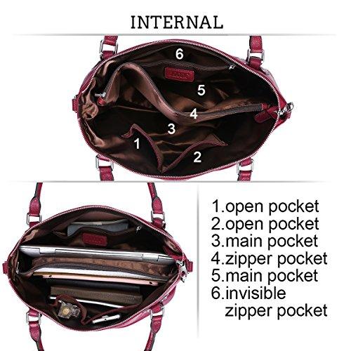 S-ZONE Para mujer de cuero cl¨¢sico del bolso Hobos y bolsos de hombro Rose Red-Medium