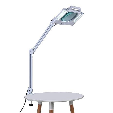 Lámpara de mesa con lupa, lámpara de belleza plegable con 5 lupas ...