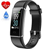 Fitness Tracker Waterproof IP68, HETP Colour Screen Fitness Watch Activity Tracker with Heart Rate Monitor for Kids women men,Smart Bracelet Sleep Monitor Bluetooth Watch Pedometer Calorie Step Counter Weather Display,Water Resistant SmartWatch Touch Screen Brightness Adjustable Strap for iPhone Samsung Android and iOS Smartphone-Black