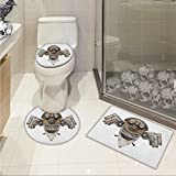Industrial 3 Piece Toilet Cover set Stylized Collage with Owl Figure Cog Hardware Gear Machinery Animal Print Pattern Rug Set Grey White Brown