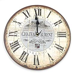 Wall Clock Vintage French Shabby Chic Vineyard Chateau Laurent Wall Clock 13 inch diameter