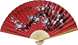 "asian home decor 1 X Large 60"" Folding Wall Fan -- Prosperity Blossoms -- Original Hand-painted"