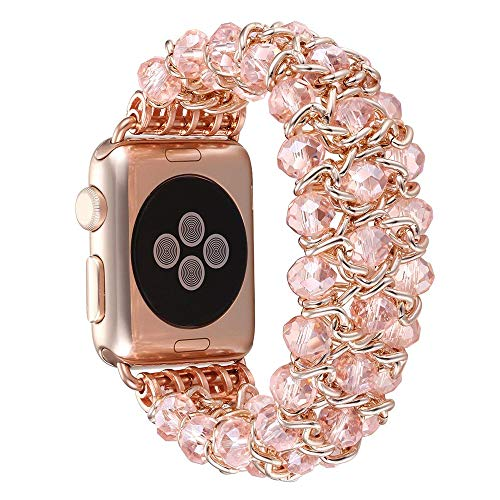 - Stretch Faux Pearl Agate Wristband Crystal Bracelet Replacement Strap for Apple Watch Smart Watch 38/42mm iWatch Series 3 2 1 Women/Girls Wristband (Rose Gold, 38mm)