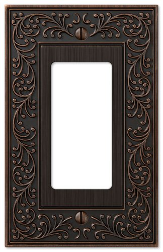 (Amerelle English Garden Single Rocker Cast Metal Wallplate in Aged Bronze)
