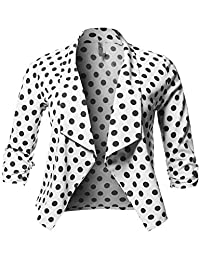 Women's Plus Size Floral Printed 3/4 Shirring Sleeve Blazer Made in USA [1XL-3XL]