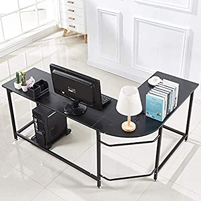 Hago Modern L-Shaped Desk Corner Computer Desk Home Office Study Workstation Wood & Steel PC Laptop Gaming Table by FurnitureR