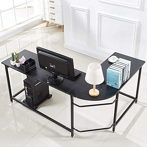 Hago Modern L-Shaped Desk Corner Computer Desk Home Office Study Workstation Wood & Steel PC Laptop Gaming Table For Sale