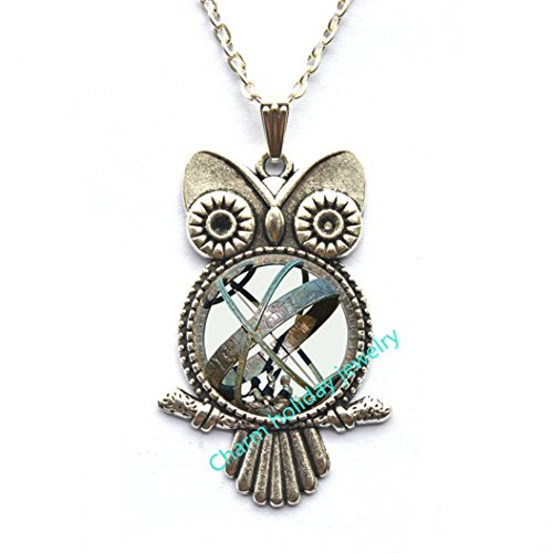 (Astronomical Sundial Globe Owl Pendant Astronomy Owl Necklace Aqua Bronze Astrological Beautiful Astronomy Science Jewelry, Not an Actual Sundial.D0030)