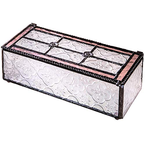 - J Devlin Glass Art Box 508 Series Vintage Stained Glass Jewelry Trinket Decorative Box - Available in Blue or Pink (Pink)