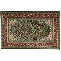 Melody Jane Dollhouse Turkish Carpet Woven Rug Miniature Flooring Red Green Md