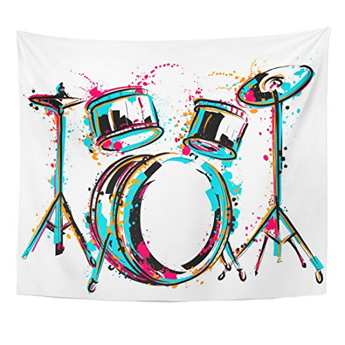 TOMPOP Tapestry Sketch Drum Kit Splashes in Watercolor Colorful Music Reggae Home Decor Wall Hanging for Living Room Bedroom Dorm 50x60 Inches