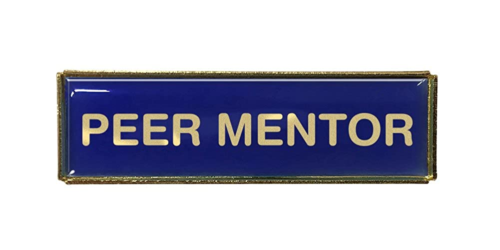 Peer Mentor Rectangle Polydome Budget Badge Gold Finish