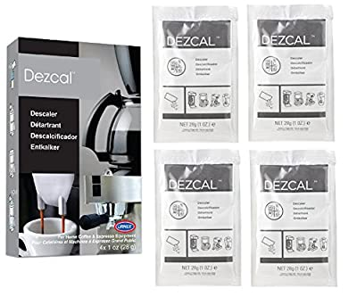 Urnex Dezcal Coffee and Espresso Descaler and Cleaner - 4 Uses - Activated Scale Remover Use with Home Coffee Brewers Espresso Machine Pod Machine Capsule Machine Kettles