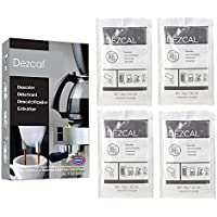 Urnex Dezcal Coffee and Espresso Descaler and Cleaner - 4 Packets - Activated Scale Remover Use With Home Coffee Brewers Espresso Machine Pod Machine Capsule Machine Kettles Garmet Steamers