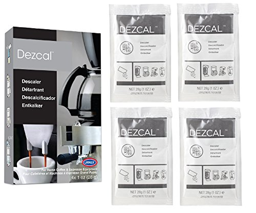 (Urnex Dezcal Coffee and Espresso Descaler and Cleaner - 4 Uses - Activated Scale Remover Use with Home Coffee Brewers Espresso Machine Pod Machine Capsule Machine Kettles Garmet Steamers)