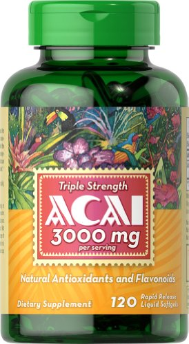 Puritan's Pride Triple Strength Acai 3000 mg-120 Softgels (Acai Supplements)