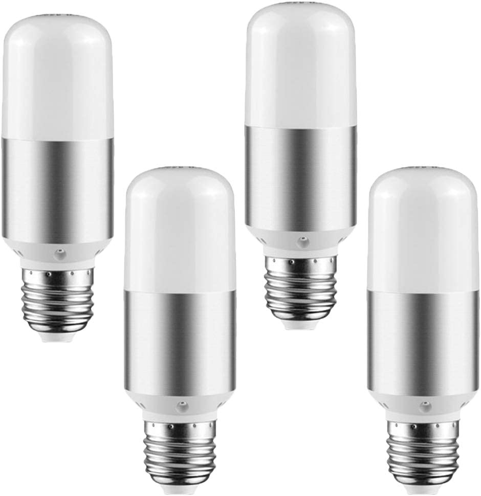 LXcom 9W LED Light Bulb E26/E27 Base(4 Pack)- T10 Corn LED Candle Bulbs Daylight White 6000K 800lm Ultra Bright 80W Incandescent Equivalent 360 Degree Beam Angle,AC85V-265V(Silver)