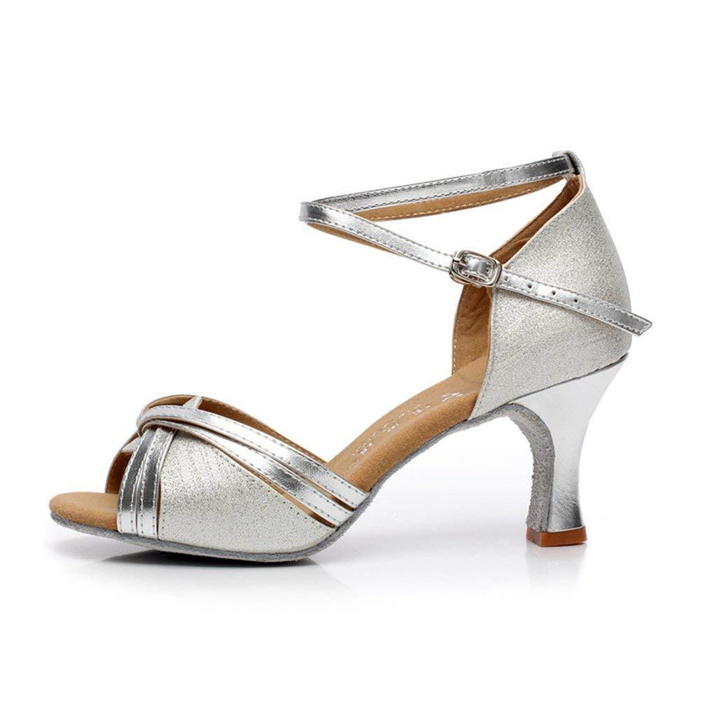 ZHRUI damen Latin Dance Schuhe Mittlere Fersen Open Toe Weichen Boden Modern Dance Schuhe Ballroom Dance Schuhe Sandale (Farbe   Silbery Größe   Foot Length=21.8CM8.6Inch)