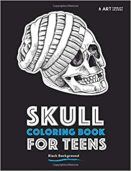Amazon Com Skull Coloring Book For Teens Black Background