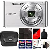 Sony DSC-W830 20.1MP Point and Shoot Digital Camera Silver with 48GB Top Accessory Kit