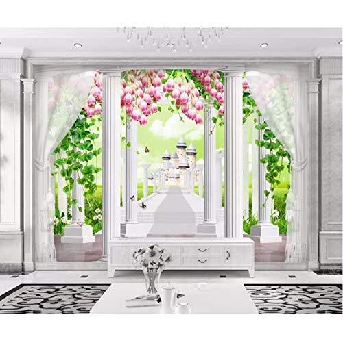 Kuamai 3D Fototapete Römische Säule Blume Reben Schlafzimmer ...
