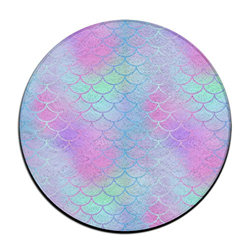 ART TANG Colourful Fish Scale Magic Mermaid Tail Area Rug Easy-Clean Carpet Non-slip Round Floor Mat Study Room Floor Mat (24 Inch (Sassafras Kids Fish)