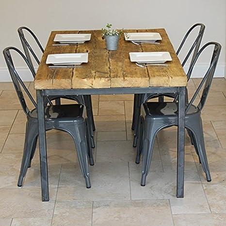 Sedie In Legno Riciclato.Tavolo Da Pranzo In Legno Industriale Riciclato Con 4 Sedie