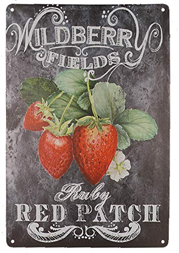 - TISOSO Tin Signs Designs Strawberries Pick Your Own Retro Vintage Tin Bar Sign Country Home Decor Outdoor Yard Field Pub Cafe Wall Art Poster 8X12Inch