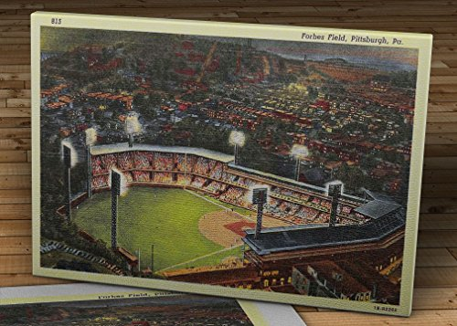 1950 Vintage Pittsburgh Pirates - Forbes Field Postcard - Canvas Gallery Wrap - 16 x - Postcard 1950's
