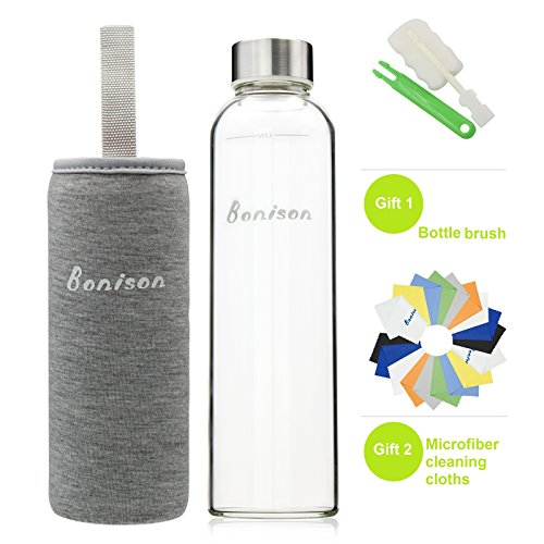 BONISON Stylish Borosilicate Glass Water Bottle with Colorful Nylon Sleeve (18oz) (GREY) (Glass Water Filter Bottle compare prices)