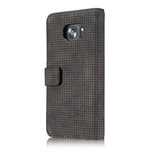 SRY-Funda móvil Samsung Cubierta de la caja de la cartera del soporte del folio del cuero de la PU de malla de aire respirable mate retro con ranuras para tarjetas Kickstand para Samsung Galaxy S7 ( C Datkgray