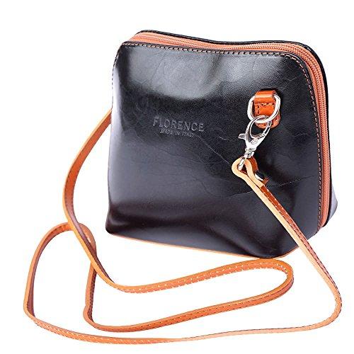 Florence Leather Market pequeño bolso de hombro y crossbody 201 Schwarz/Hellbraun
