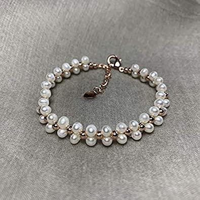ruoyu Doble Perla Natural de Agua Dulce Pulsera de Perlas Tejidas a Mano Pulsera Bisutería para Mujeres y niñas