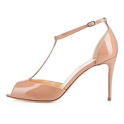 8b68b0faa3d5 Sammitop Women s Peep Toe 80mm Heels Sandals T-Strap Ladies Cute Dress Shoes  Beige US5