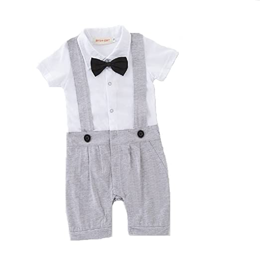 f4e073828672 Amazon.com  Hooyi Baby Boy Short Tuxedo Rompers Gentleman Black Tie ...